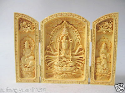 Decorated Boxwood Highly Difficulty Carved Floding Box Buddha Monkey King Statue