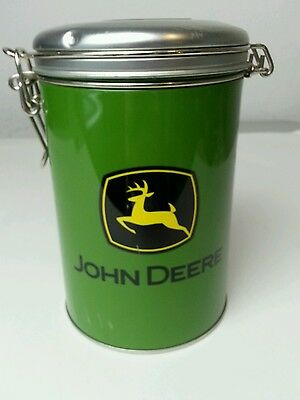 John Deere Green Yellow & Black Round Lock Top Tin