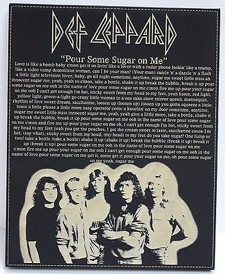 "Def Leppard Laser Etched Lyric & Band Art Black Leatherette Plaque ""C3"""