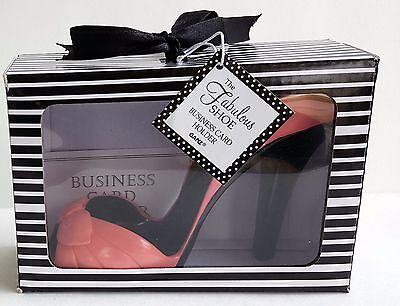 Ganz Fabulous SHOE BUSINESS CARD HOLDER High Heels Open Toe Salmon NIB NOS