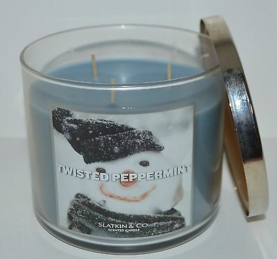 Bath & Body Works Twisted Peppermint Scented Candle 3 Wick 14.5 Oz Large Slatkin