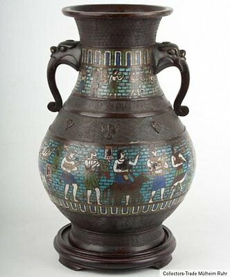 China 19. Jh. A Chinese Export 'Middle East' Bronze & Champleve Vase - Chinois