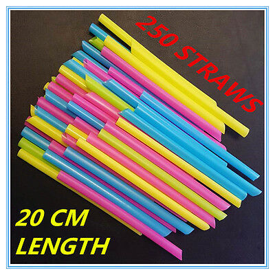 250 Large Wide Plastic Colourful Drinking Straws 20 Cm Length - Party Wedding A