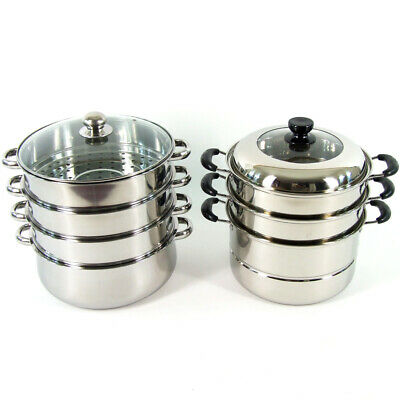 Stainless Steel Steamer 4 Tier Cooking Hot Pot Cookware 4 Layers 26 30 32 36cm