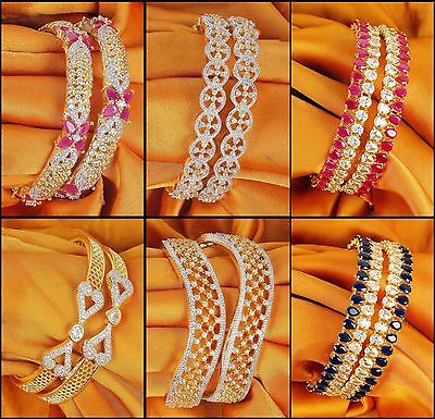 Indian Bollywood Zircons Made Bangles Set Gold Tone American Diamond Jewelry