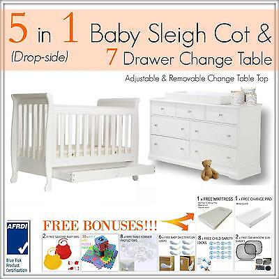 7 DRAWER WHITE Change Table and 5 in 1 Baby Sleigh Cot Bed Package