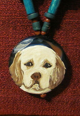 Clumber Spaniel hand painted on round Onyx Agate pendant/bead/necklace