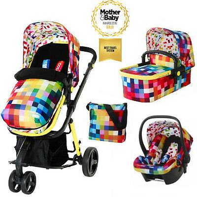 New Cosatto Giggle 2 3 in 1 Pram Travel System with Hold Car Seat - Pixelate