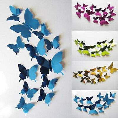 12X Butterflies Mirror Wall Sticker For Living Room Bedroom Decal Art Home Decor