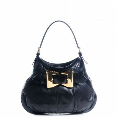 66ab1b6f4b9 GUCCI Queen Bow Hobo Shoulder Shoulder Bag Black Gold Dialux Fabric-  AUTHENTIC