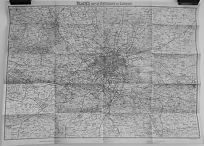 Antique maps, Black's map of environs of London, c. 1883