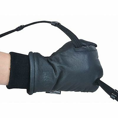 HKM Equestrian Thinsulate Leather 3 Fingers Warm Breathable Elasticated Gloves