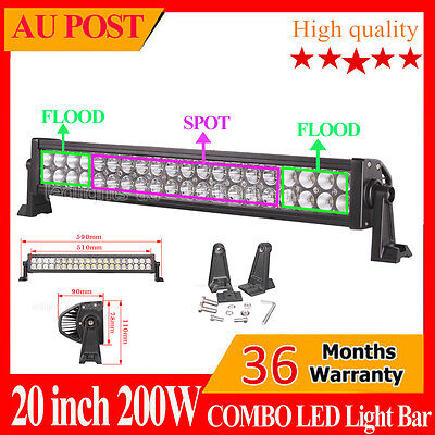 24inch 200W Philips Work LED Light Bar Driving Spot&Flood Combo Lamp 4WD Offroad