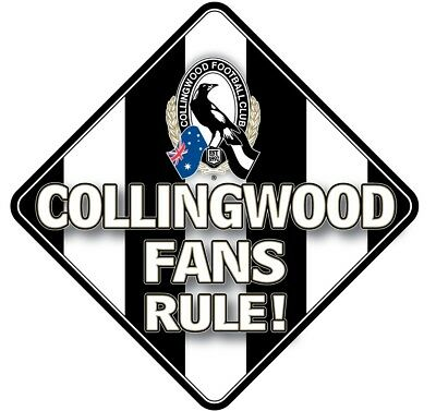 Collingwood Magpies AFL Team Supporters Car Sign * Collingwood Fans Rule!
