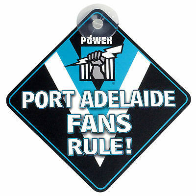 Port Adelaide Power AFL Team Supporters Car Sign * Port Adelaide Fans Rule!