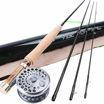 "Fly Fishing Combo 6'6"" 2WT 4Pieces Rod with 2/3WT Aluminum Fly Fishing Reel"