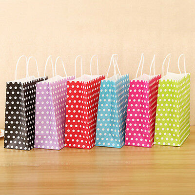 Candy Color Kraft Paper Bags Dots Christmas Birthday Party Favor Treat Gift Bags
