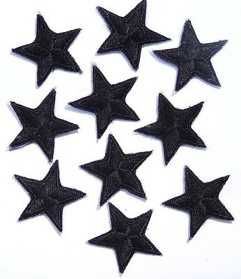 """Black star patches > pack of 10 >embroidered> iron-on > 1"""" (25mm) hand finished"""