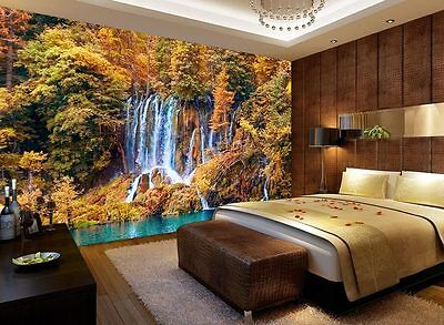 Autumn Pond Waterfall Forest Full Wall Mural Photo Wallpaper Print Home 3D Decal