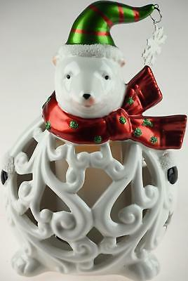 Cute Ceramic Polar Bear - Christmas Light Up L.E.D Colour Changing Ornament