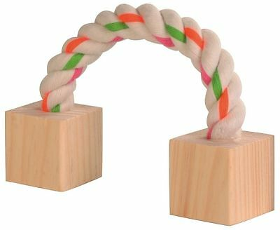 "Playing Rope with 2 Wooden Blocks Small Animal Hamster Rat Rabbit Toy 20cm (8"")"