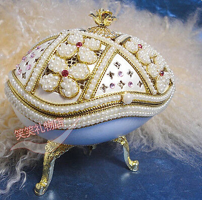 "Russian aristocracy Egg Carving /""White jewelry box/"" Music Box Top Gift E026"