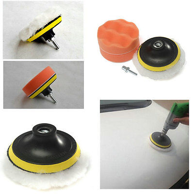 New 3 inch Polishing Buffer Sponge Pad Set + Drill Adapter For Car Polisher I6