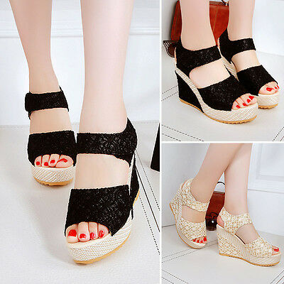 Womens High Heel Wedge Ankle Strap Platform Open Toe Sandals Summer Shoes Size