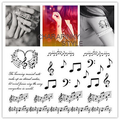 Waterproof Temporary Tattoo Stickers Musical Notes Design Classic