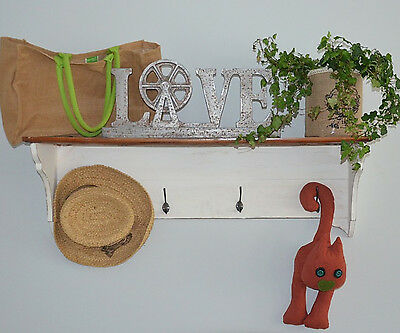 Coat Rack Shelf Rustic Wood Metal Hooks Decor Wall Hanger Vintage White