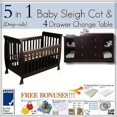 5 in 1 Dropside Baby Sleigh Cot and 4 DRAWER WALNUT brown Change Table Package