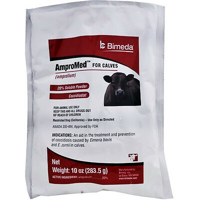 AmproMed for Calves 20% (Amprolium) Amprol 10oz Pwd Treat Cocci Makes 128 gal