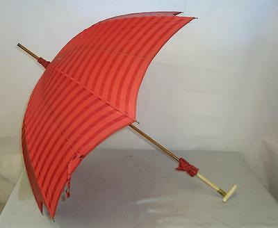 *vintage Ladies Umbrella-With Gold Plate Collar & Red Canopy*