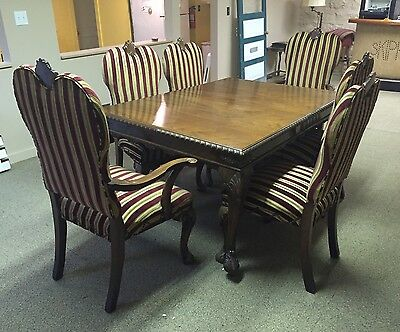 Antique Dining Room Set 6 Chairs + Table Carved Wood Striped Original Upholstery