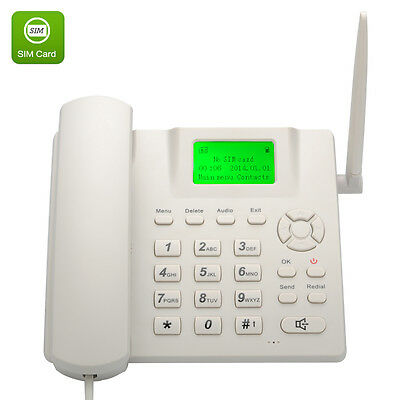 Wireless SIM Operated Desk Phone mobile SMS quad band handset cell GSM white