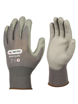 10 Pairs Skytec Rhyolite Unisex Work Gloves Nylon Liner PU Palm Coated Lint Free