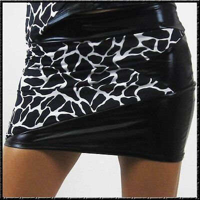 Sexy Stretch minirock animal mit Glanz schwarz Wetlook Mini Rock S sale