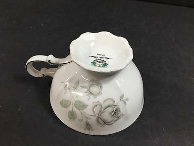 2 Mitterteich Mystic Rose  Cup & Saucer Bavaria Germany Gray Roses Platinum Trim