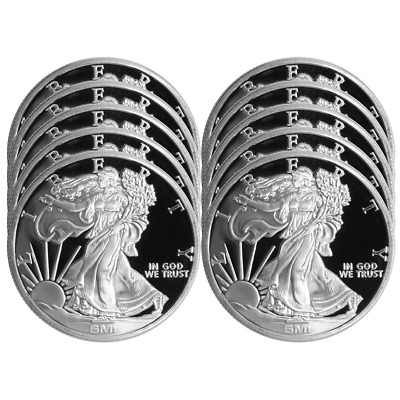 Lot of 10 - 1 Troy oz Sunshine Walking Liberty .999 Silver Round Mint Mark SI