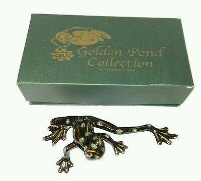 """Golden Pond Collection By Green Tree - Green / Orange Ceramic Frog (A) 6.5"""""""