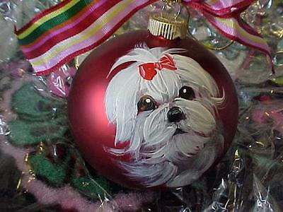 Maltese Handpainted Glass Christmas Ornament Best On Ebay!