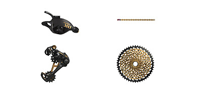Sram XX1 Eagle Drivetrain with Cassette, Shifter, Derailleur and Chain in Gold
