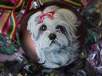 Maltese Hand Painted Christmas Ornament Wow!!!!