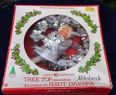 Vintage ALDERBROOK Tree Top Decoration Angle with Foil Christmas Lights in Box