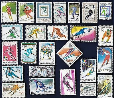 25 SKIING on Stamps