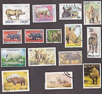 15 All Different RHINOS / RHINOCEROS  on Stamps