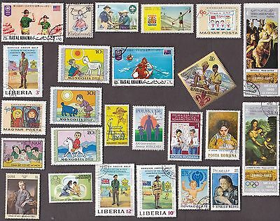 25 All Different CHILDREN on Stamps