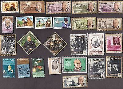 25 All Different CHURCHILL on Stamps