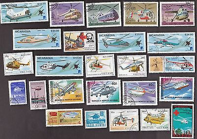 25 All Different HELICOPTERS on Stamps