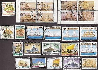 25 All Different SHIPS OF WAR on Stamps